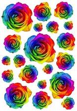Fietsstickers bloemen rozen mix kleuren