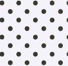 55x140cm Restje tafelzeil wit met zwarte stippen