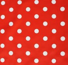 45x140cm Restje tafelzeil rood met witte stippen