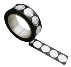 Zoedt Masking tape zwart met witte grote dots