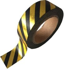 Studio Stationery Washi tape zwart/goud metallic streep