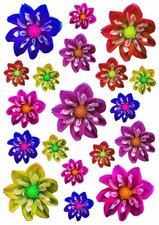 Fietsstickers bloemen kleine dahlia's mix kleuren
