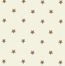 85x140cm Restje tafelzeil sterren goud op creme