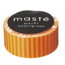 Washi tape Masté streepjes oranje en rood