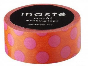 Masking tape Masté stippen oranje met roze
