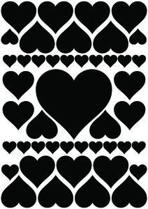 Autostickers hartjes zwart