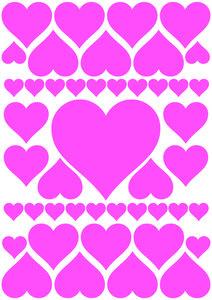 Autostickers hartjes roze