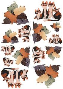 Fietsstickers katten familie