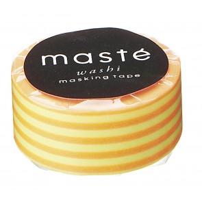 Washi tape Masté neon geel met oranje strepen